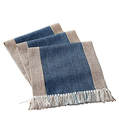 HomeyHo Rustic Table Runner with Fringe Dinning End Table Runner for Living Room Now Designs Table Runner Long Table Runner Modern Design Washable Table Runner Long, 15 x 71 Inch, Blue
