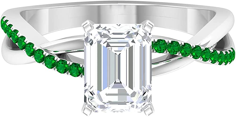1.75 CT Octagon Cut Created Moissanite Solitaire Ring with Emerald Accent (AAA Quality),14K White Gold,Moissanite,Size:US 11.00