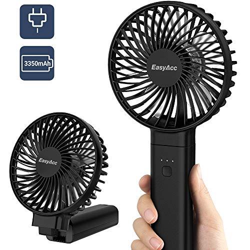 EasyAcc Handventilator 3350mAh USB Ventilator/Tragbarer Mini Lüfter Elektrischer 17 Stunde - Aufladbarem Batterie Faltbar Kompatibel mit Laptop Multi Port Steckdose für Reisen und Zuhause Schwarz