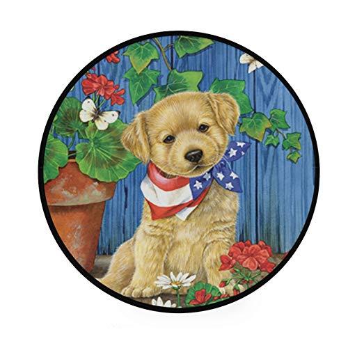 TropicalLife XIXIKO - Alfombra redonda con diseño de bandera de EE. UU., diseño floral, antideslizante, para habitación de niños, sala de juegos, sala de juegos, dormitorio, silla, cojín de 91,9 cm