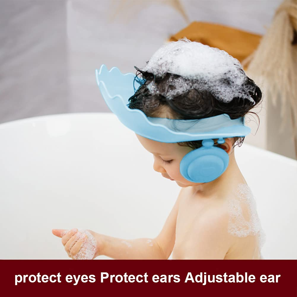 Toddler Bathing Shower Cap, Shampoo Shower Hatwith Removable Earmuffs Prevent Water from Entering The Eyes and Ears Baby Bath Hat Suitable for Toddlers