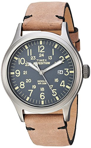 Timex Men's TW4B01700 Expedition Scout 40 Brown/Gray Leather Strap Watch