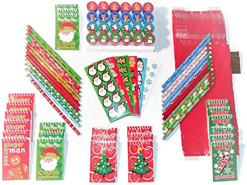 Christmas Holiday Party Favors Stampers Stickers Notebooks Pencils Treat Bags 24 Pack