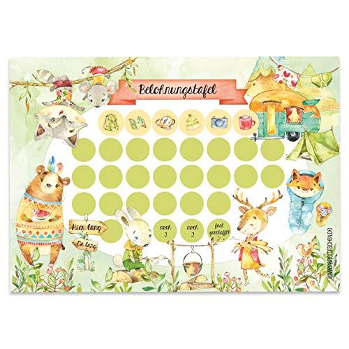 Papierdrachen Belohnungstafel Set für Kinder als Abreißblock 10 Blatt - Motivierendes Konzept als Erziehungshilfe - mit tollen Stickern für Jungs und Mädchen - Motiv Camping Set 8