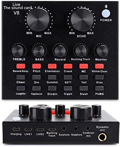 REMALL DJ Controller Live-Soundkarte, DJ Mischpult Mixer DJ Controller mit 12 Warm-Up-Soundeffekten 4 Sound-Change-Effekten für Podcasting, Bluetooth-Mini-Streaming-Audiomischer für Telefon Computer