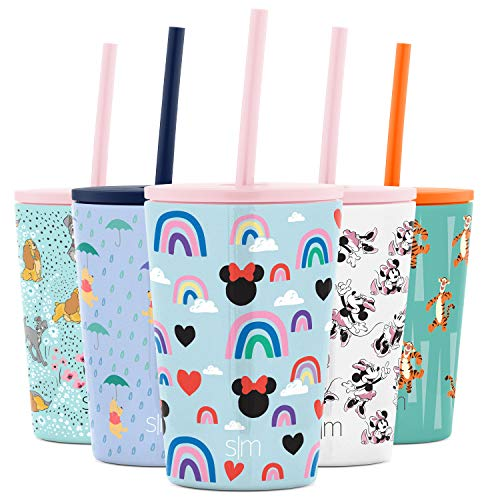 Simple Modern Disney Water Bottle for Kids Reusable Cup with Straw Sippy Lid Insulated Stainless Steel Thermos Tumbler for Toddlers Girls Boys, 12oz, Minnie Mouse Rainbows