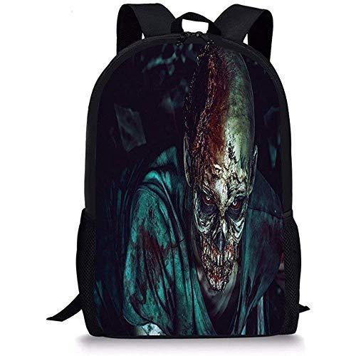 Mei-shop Borse da Scuola Zombie Decor Uomo sparato in Testa con Dettagli insanguinati Fearful Monster Vampire Fantasy PrintMulticolor