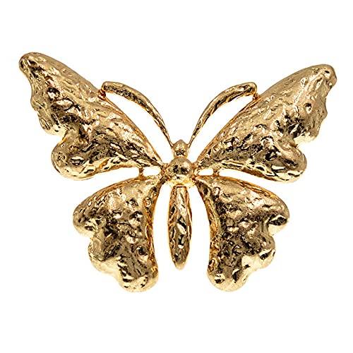 RWJFH Broche Llegada Broches de Mariposa de Metal Grandes para Mujer Pin de Moda de aleación de Color Dorado y Plateado Hermoso, Dorado