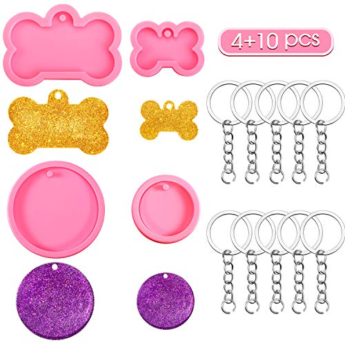 4 Pieces Keychain Silicone Mold, Includes 2 Pieces Dog Bone Silicone Molds and 2 Pieces Round Keychain Silicone Molds with 10 Pieces Key Rings for DIY Keychain Decoration, Cake Chocolate Dessert
