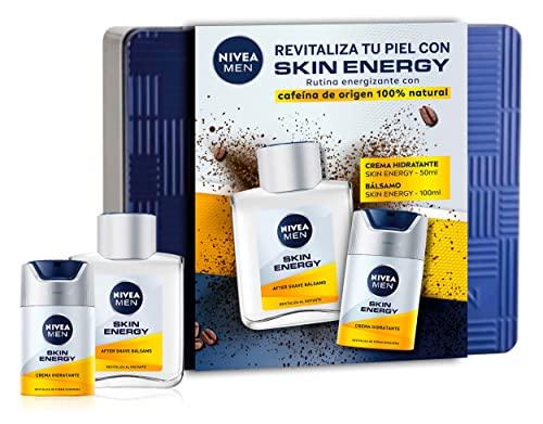 NIVEA MEN Skin Energy Pack Cuidado Facial Energizante Hombre, pack de hombre con bálsamo after shave (1 x 100 ml) y crema hidratante facial (1 x 50 ml)