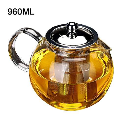 Tetera De Vidrio Teteras Tetera de vidrio 650ml 960ml 1300ml Tetera de vidrio resistente al calor Juego de té de flores Tetera Cafetera Tetera Juego de vasos Colador de acero inoxidable-960ml