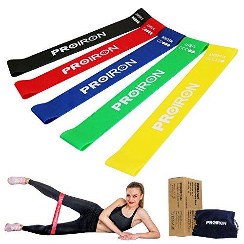 PROIRON Elastici Fitness [Set di 5],Fasce Elastiche di Resistenza con Guida agli Esercizi e Borsa da Trasporto, Elastici Palestra Banda per Crossfit, Yoga, Pilates, Squats, Lunges, Stretching