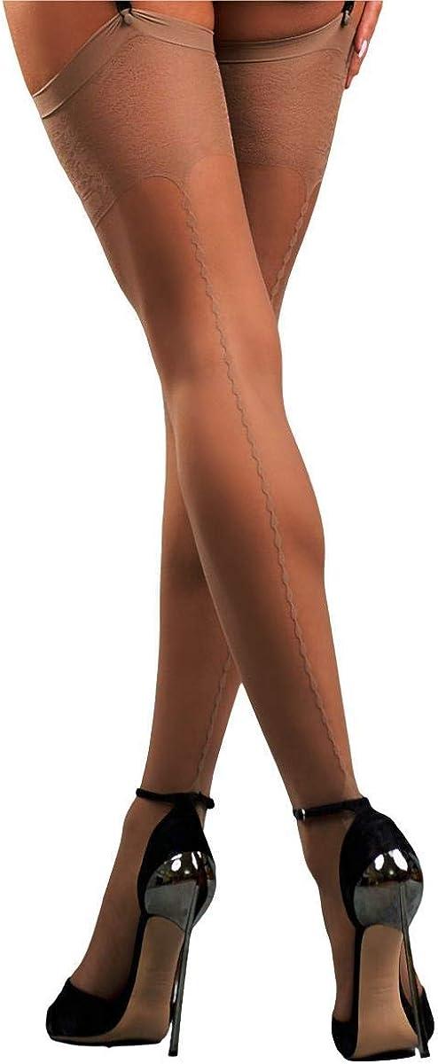 MILA MARUTTI Thigh High Stockings Pantyhose for Garter Belt Back Seamed Nylons