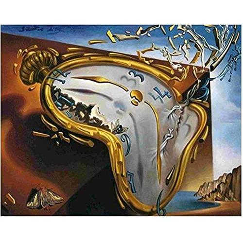 Pintar por Números para Adultos Niños Principiantes, Reloj roto Pintura al óleo Kit con Pinceles y Pinturas Decoraciones para el Hogar 40 X 50 cm sin Marco
