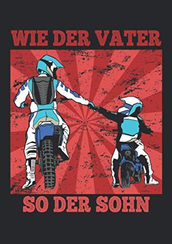 Notizbuch A5 dotted, gepunktet mit Softcover Design: Motocross Vater Sohn Geschenk Spruch Enduro Dirtbike: 120 dotted (Punktgitter) DIN A5 Seiten