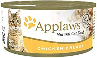 Applaws Chicken Breast Natural Wet Cat Food - 70 g tins, complementary food for adult cats, pack of 24