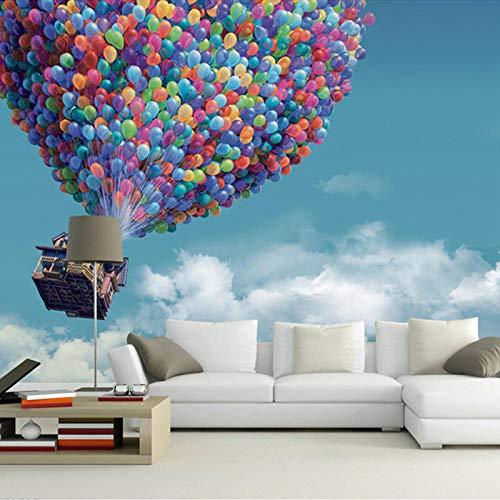 ZJfong blauwe hemel witte wolken vliegen ballon foto wandafbeelding voor slaapkamer woonkamer decoratie hoogwaardig 3D-behang 140 x 70 cm.