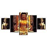 LWJPD Cuadro en Lienzo 5 Partes Pintura En Lienzo Mural HD Impresión Golden Buddha Poster Modular Living Room Imagen Decoración del Hogar Sin Marco 60 Inch