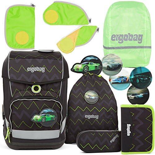 ergobag cubo Light Ultraleichter Schulranzen Drunter und DrüB (5-TLG.) + Regenhaube + Sicherheitsset Grün