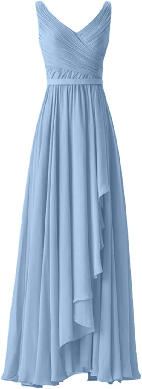 Bridesmaid Dresses Long Evening Formal Gowns V Neck Mother of The Bride Dress Ruffles