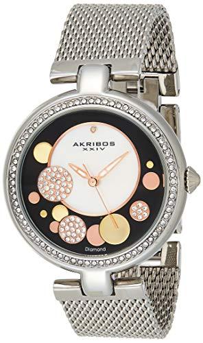 Akribos XXIV Ornate Women's Swarovski Watch - Mother of Pearl Center Dial, Crystal Filled Bezel On Stainless Steel Mesh Bracelet - AK881