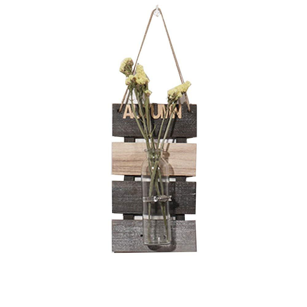 SZETOSY - Jarrón hidropónico colgante para decoración de pared con tablero de madera, para colgar plantas, flores, para decoración del hogar, jardín, sala de estar, cafetería, 30 x 17 cm: Amazon.es: Hogar