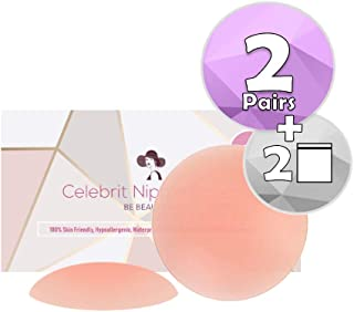 Nipple Cover (2 Pairs) (6.5cm in Diameter) Silicone Breast Nippleless Pasties -100% Hypoallergenic, Invisible, Self-Adhesive - By Celebrit