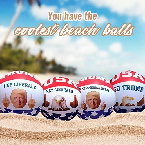 Inflatable Beach Ball Pool Toy: 4 Pack President Donald Trump & American Eagle Beach Ball Set|Easy To Inflate USA Patriotic Thumbs Up & Middle Finger Ball| Amazing Funny Pool Toys For Adults Idea