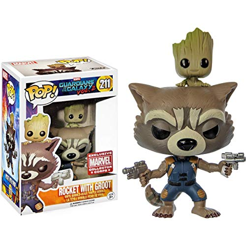 Funko POP! Marvel: Guardianes de la Galaxia: Groot con Rocket Exclusiva