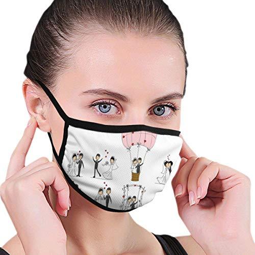Multifunktionale Gesichtsschutzhülle,Hochzeit Braut Bräutigam Cartoon Druck Unisex Waschbare Wiederverwendbare Gesichtsdekorationen Für Den Persönlichen Schutz