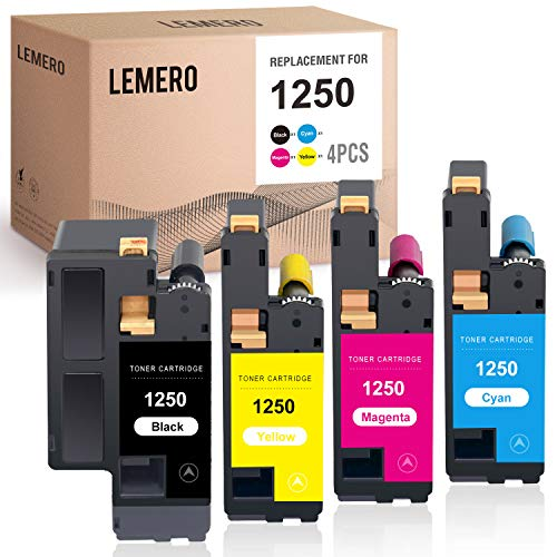 LEMERO Compatible Toner Cartridges Replacement for Dell 810WH C5GC3 XMX5D WM2JC to use with C1760nw C1765nfw 1250c 1355cnw C1765nf 1350cnw 1355cn (Black Cyan Magenta Yellow, 4-Pack)