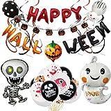 WZhen Halloween Balloon Festival Celebration Party Suministros Trajes Decorativos Cráneo Bandera Pull Spiral Encanto Globos De Halloween - Estilo A