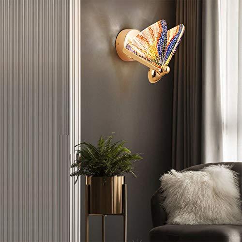 QEGY Mariposa LED Aplique de Pared Dormitorio, Lámpara de Pared Ajustable Sala de Estar, Luz de Pared Blanca Cálida con Dorado Base y Vistoso Acrílico Pantalla, 600 Lumen,A