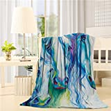 Flannel Fleece Throw Blanket Thick Cozy Bed Sofa Blankets Super Soft Fabric Ink Painting Style Colorful Horse 39x49 inch