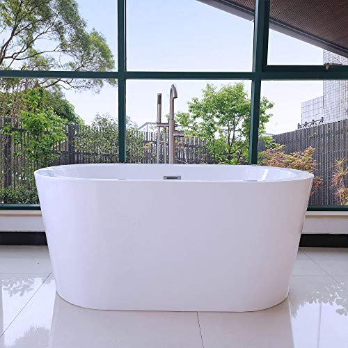 Woodbridge BTA0088 56' Acrylic Freestanding Bathtub Contemporary Soaking Tub with Brushed Nickel Overflow and Drain BTA1588-B,Wight