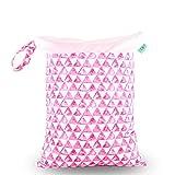 Bolsa de Pañales 1PCS, Treer Reutilizable Impermeable Lavable Bolsa con Cremallera para Bebé Carrito, Wetbag Portátil Colgar Maternidad/Mamá Organizador de Maquillaje (Rosado)