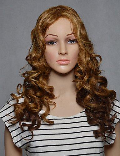 jiayy sans couvercle PU longue blond ondulé de couleur pour femme pelucas synthétiques Blonde