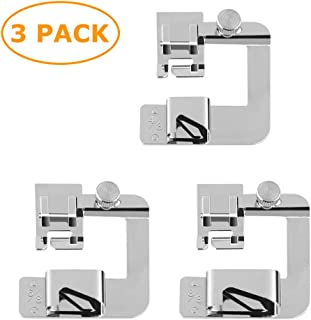 3 Pieces Rolled Hem Pressure Foot Sewing Machine Presser Foot Hemmer Foot Set (4/8 Inch, 6/8 Inch, 8/8 Inch) Adjustable Wide Hemmer Foot Set