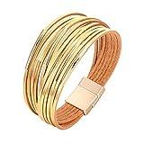 Fesciory Women Multi-Layer Leather Wrap Bracelet Handmade Wristband Braided Rope Cuff Bangle