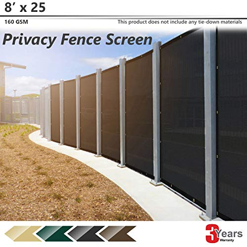 BOUYA Black Privacy Fence Screen 8' x 25' Heavy Duty for Chain-Link Fence Privacy Screen Commercial Outdoor Shade Windscreen Mesh Fabric with Brass Gromment 160 GSM 88% Blockage UV -3 Years Warranty