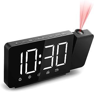 Quntis rojectiewekker, digitale plafondklok met instelbare helderheid voor scherm en projectie, alarm, black