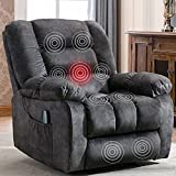 ANJ Overstuffed Massage Recliner Chairs with Heat Vibration, Fabric Manual Reclining Chair Living Room Single Lounge Sofas Grey