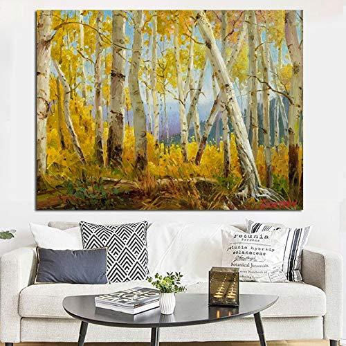 wZUN Resumen otoño Bosque montaña Paisaje Lienzo Pintura caligrafía HD impresión Imagen de Pared para decoración de Sala de Estar 60X80 Sin Marco