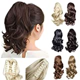 12' Claw Ponytail Extension Short Curly Clip in Hairpiece with Jaw/Claw Synthetic Fluffy Pony Tail One Piece for Women (12'curly,dark brown)
