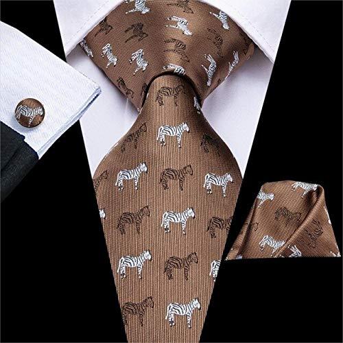 DJLHN Hi-Tie Corbatas de Seda con Estampado Rosa para Hombres Pañuelos Gemelos Set Melocotón Cebra Caballo Estilo Corbata para Hombre Regalo para Hombres Jacquard Gravata - C-3308