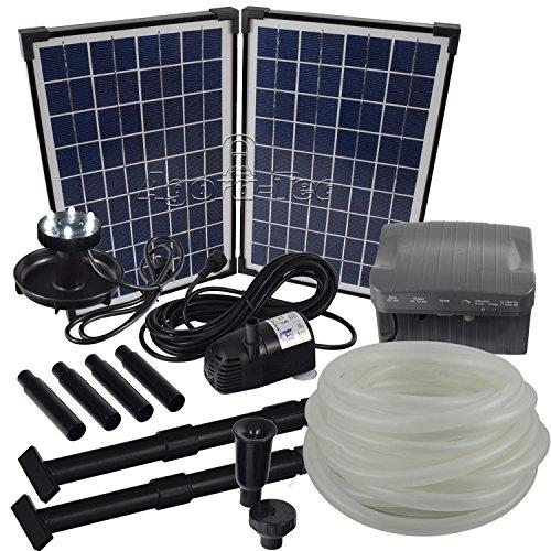 Agora-Tec® at-Solar Bachlaufpumpen - Set 20W-BLH mit Akku und 6-...