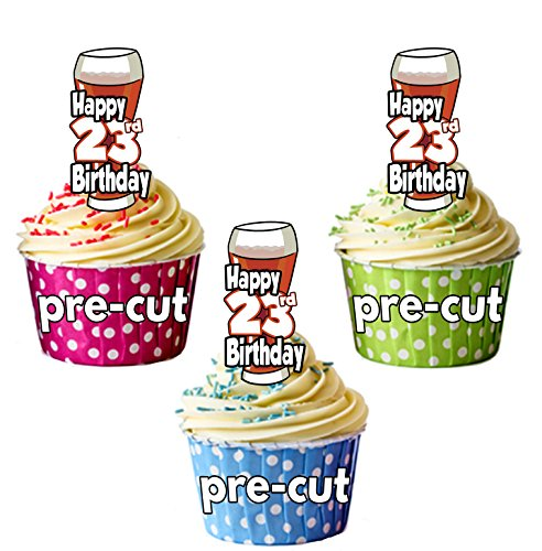 PRECUTA - Juego de 12 adornos comestibles para cupcakes, diseño de cerveza y pinta de Ale, 23 cumpleaños