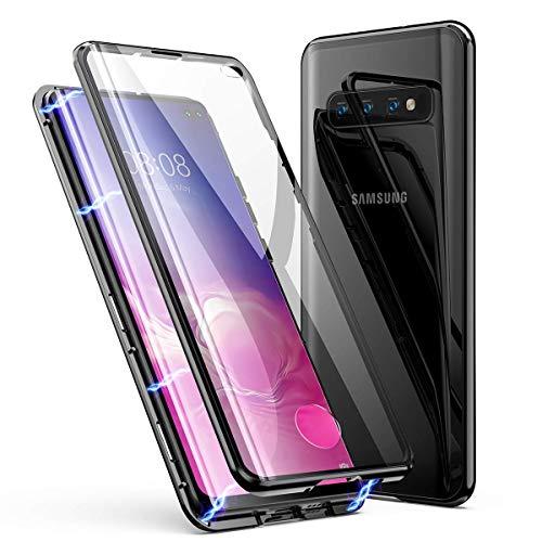 für Samsung Galaxy S10+/S10 Plus Hülle Magnetische Adsorption Metallrahmen 360 Grad Full Body Handyhülle Vorne hinten Gehärtetes Glas Schutzhülle Einteiliges Ultra Dünn Flip Cover,Schwarz