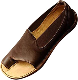 Womens Slip-On Loafer Open Toe Loafers & Slip-Ons,Flip Flops Toe Ring Side Cutout Flat Sandals,Oxfords