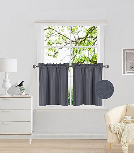 "Elegant Home 2 Panels Tiers Small Window Treatment Curtain Insulated Blackout Drape Short Panel 28"" W X 24"" L Each for Kitchen Bathroom or Any Small Window # R16 (Charcoal)"